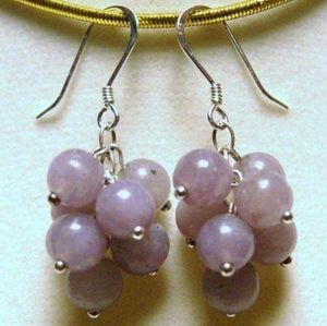 Jewelry - Lilac Stone Cluster & Sterling Silver Earrings